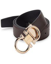 Ferragamo Gancini Reversible Leather Belt - Black