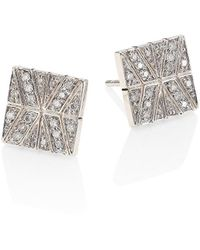 John Hardy Modern Chain Diamond & Sterling Silver Stud Earrings - Metallic