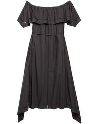 Theory Eyelet Ladder Trim Off-the-shoulder Dress - Black