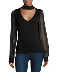 Ramy Brook | Ashley Chiffon Sleeves Choker Sweater | Lyst