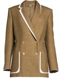 Fendi Leather-trim Flannel Tweed Double-breasted Blazer - Brown