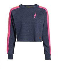 Aviator Nation Neon-striped Fleece Sweatshirt - Blue