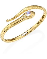 Temple St. Clair - Serpent Bella Diamond, Royal Blue Moonstone & 18k Yellow Gold Bangle - Lyst
