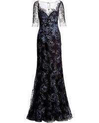 Teri Jon Lace Appliqué Tulle Gown - Black