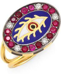 Holly Dyment Americana Eye 18k Gold, Tourmaline & Diamond Ring - Metallic