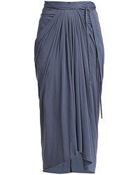 Rick Owens Lilies Draped Front Midi Skirt - Blue