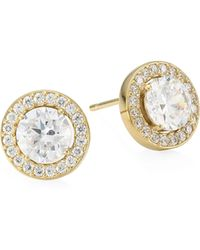 Adriana Orsini - 18k Goldplated Sterling Silver Framed Round Stud Earrings - Lyst
