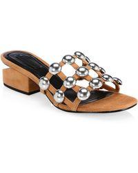 918d02057fd Alexander Wang - Women s Lou Tilt-heel Studded Leather Mules - Clay - Size  40