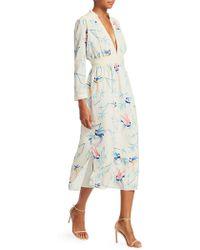 Borgo De Nor - V-neck Long-sleeve Bird-print A-line Midi Dress - Lyst