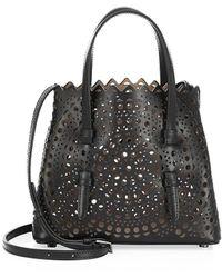 Alaïa Small Mina Perforated Leather Tote - Black