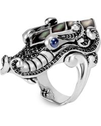 John Hardy - Legends Mother Of Pearl & Sapphire Naga Ring - Lyst