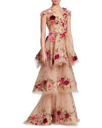 Marchesa - Tiered Floral Illusion Gown - Lyst
