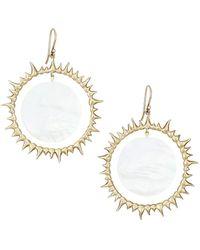 Annette Ferdinandsen 14k Yellow & Mother-of-pearl Solar Eclipse Drop Earrings - Metallic