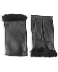 Glamourpuss Rabbit Fur & Leather Fingerless Mittens - Black