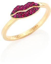 Delfina Delettrez - Kiss Me Ruby & 18k Yellow Gold Ring - Lyst