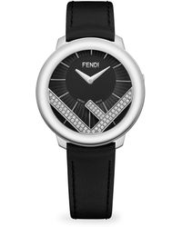 Fendi - Run Away Stainless Steel & Diamond Leather-strap Watch - Lyst