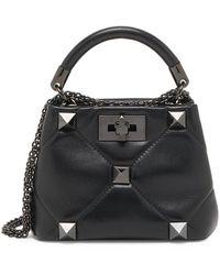 Valentino Garavani Roman Stud Mini Leather Top Handle Bag - Black