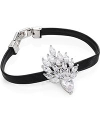 Fallon - Monarch Mini Flame Crystal & Leather Bracelet - Lyst