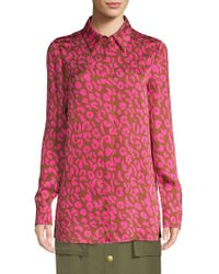 ESCADA - Pink Cheetah Print Blouse - Lyst