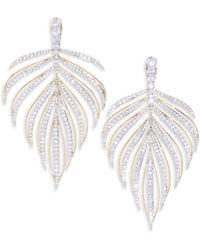 Adriana Orsini - Pirouette Leaf Drop Earrings - Lyst