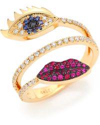 Delfina Delettrez - Marry Me Blue Sapphire, Diamond, Rubies & 18k Yellow Gold Eyes & Lips Ring - Lyst
