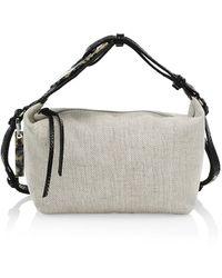 Ganni Leather-trimmed Canvas Hobo Bag - Natural