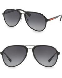6c3440474a ... promo code prada linea rossa 58mm aviator sunglasses lyst dd454 1206d