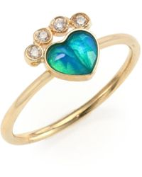 Jacquie Aiche - Sacred Heart Diamond, Blue Opal & 14k Yellow Gold Ring - Lyst