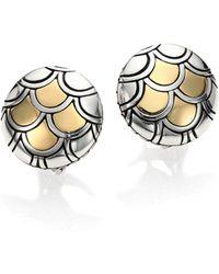 John Hardy - Legends Naga 18k Yellow Gold & Sterling Silver Button Earrings - Lyst