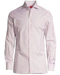 Isaia Seasonal Colors Striped Sport Shirt - Red