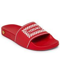 e71ba083cba78 Versace - Men s Ciabatta Pool Slides - Red White - Size 40 (7) Sandals