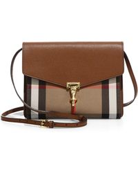 Burberry - Macken Small House Check & Leather Crossbody Bag - Lyst