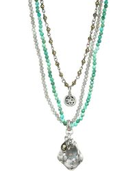 Chan Luu Mixed Turquoise Multi-strand Beaded Charm Necklace - Blue