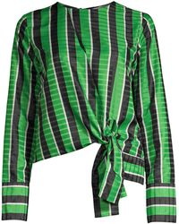 Robert Rodriguez Tie Hem Striped Blouse - Green