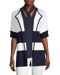 St. John - Striped Short Sleeve Jacket - Lyst