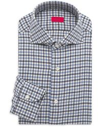 Isaia Gingham Check Flannel Button-up - Blue