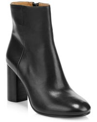 Joie Lara Leather Ankle Boots - Black