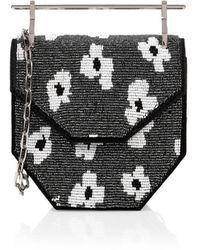 M2malletier X Pura Utz Mini Amor Fati Floral Beaded Top Handle Bag - Black