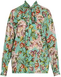 Dolce & Gabbana - Georgette Floral-print Tieneck Blouse - Lyst