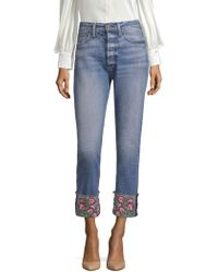 AO.LA by alice + olivia - Amazing High-rise Embroidered Girlfriend Jeans - Lyst