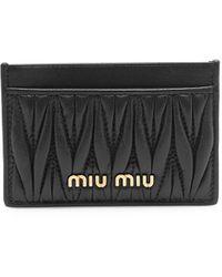 Miu Miu Matelasse Leather Card Case - Black