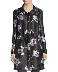 St. John - Falling Floral Print Cashmere & Silk Coat - Lyst