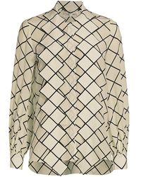 Oscar de la Renta Tie-neck Grid-print Crepe De Chine Blouse - White