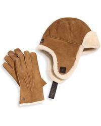 UGG - Two-piece Shearling Sheepskin Hat And Smart Leather Gloves Set - Lyst