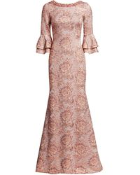 THEIA Metallic Floral Jacquard Bell-sleeve Trumpet Gown - Pink