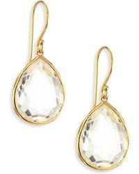 Ippolita - Rock Candy Gelato Clear Quartz & 18k Yellow Gold Medium Teardrop Earrings - Lyst