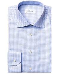 Eton Contemporary-fit Textured Check Dress Shirt - Blue