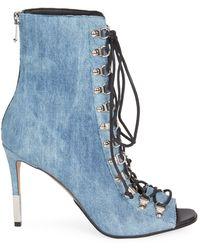 Balmain Denim Lace-up Peep-toe Booties - Blue