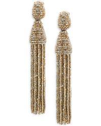 7e5d170da3ef2 Oscar de la Renta - Women s Long Beaded Tassel Clip-on Earrings - Black -