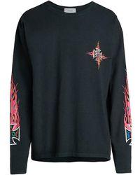 Rhude Long-sleeve Neon Flame Graphic T-shirt - Black